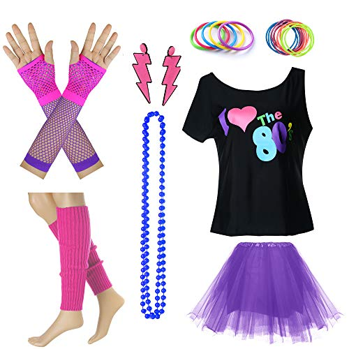 I Love The 80's Disco T Shirt Fancy Outfit Costume Accessories Set (04#, -