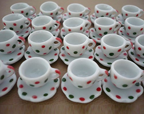 The Best Buy 20 Pcs Dollhouse Miniature Spotted Red Green Ceramic Coffee/Tea Cups & Saucers Sets from The Best Buy