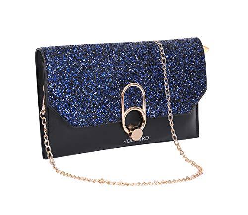 (Women Evening Envelope Rhinestone Handbag Wristlet Wallet Clutch with Chain Strap for Party Bridal)
