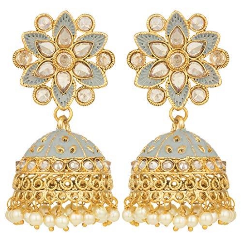 Aheli Grey Color Enamel Jhumki Dangle Drop Earrings Embellished with Faux Polki Stones Indian Fashion Jewelry for Women -