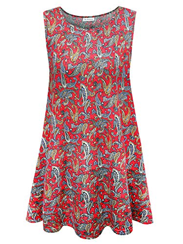 Women's Plus Size Tunic Summer Sleeveless Swing Floral Flare Tank Top (Floral Print Red,2XL)