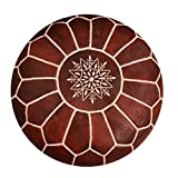 Moroccan Leather Pouf - Handmade Leather Pouffe
