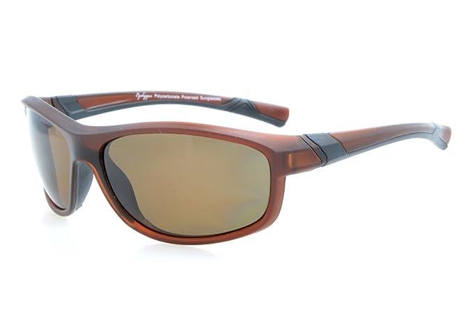 Eyekepper Lunettes de soleil Polycarbonate polarisees Sport homme femme Baseball Peche Courir Conduite Golf Randonnee TR90, Black/Grey Lens, taille unique