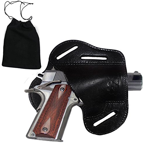 MM Gear Premium Leather Gun Holster 1911 Style Handguns - Free Dust Bag Included (Black, Right Handed)