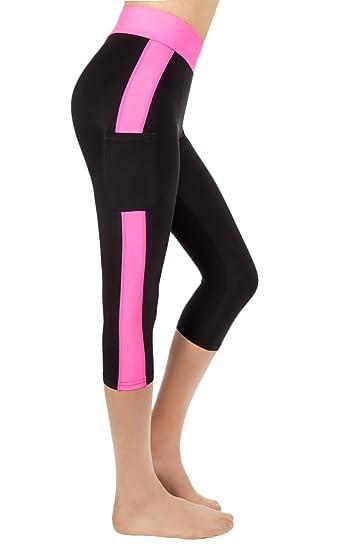 8ddcd02c52b917 Chic Ruff Women's Activewear Capri Workout Side Pocket Leggings  Yoga/Running Pants AC3168 at Amazon Women's Clothing store: