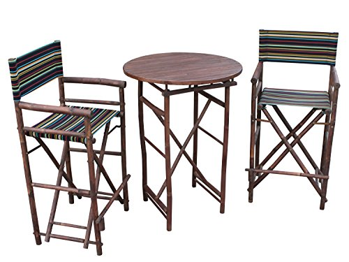 ZEW SET-016-6-10 1 High Round Table and 2 High Director Chairs, - And Round Nude Brown