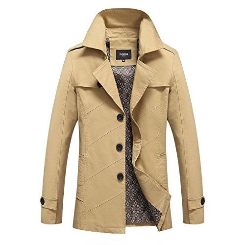 Susanny Men's Ourdoors Cotton Jackets Coats Windbreakers Fashion Overcoat XXL Khaki