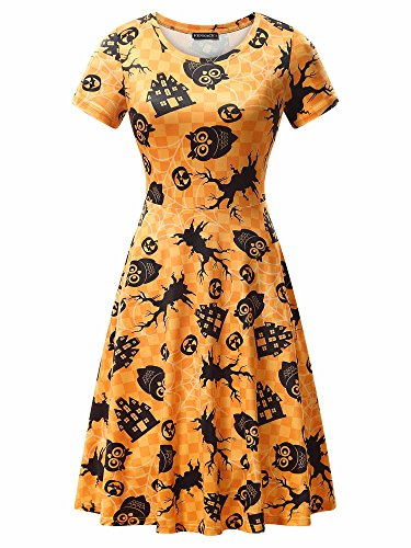Casual Dress, FENSACE Womens Short Sleeve Bats Spooky Scary Flared Swing Dress