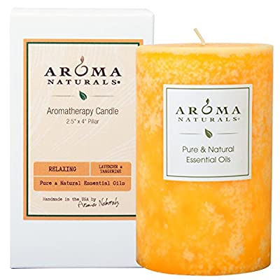 Aroma Naturals Essential Oil Lavender & Tangerine Scented Pillar Candle, Relaxing, 2.5 inch x 4 inch - Contains 1, orange Relaxing 2.5x4 Lavender and Tangerine Naturally Blended pillar candle Original authentic aromatherapy pure essential oil candles are allergy friendly with no synethetic fragrances, and all-cotton metal-free wicks All-cotton metal-free wick - living-room-decor, living-room, candles - 51SuNa3FJeL. SS400  -