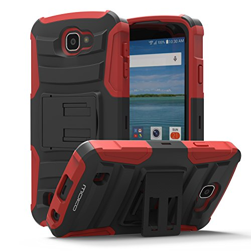 LG Optimus Zone 3 Case - MoKo [Heavy Duty] Full Body Rugged Holster Cover with Swivel Belt Clip - Dual Layer Shock Resistant LG Optimus Zone 3 4.5 Inch 2016 Smartphone Case [Lifetime Warranty], RED (Lg Optimus Otterbox compare prices)