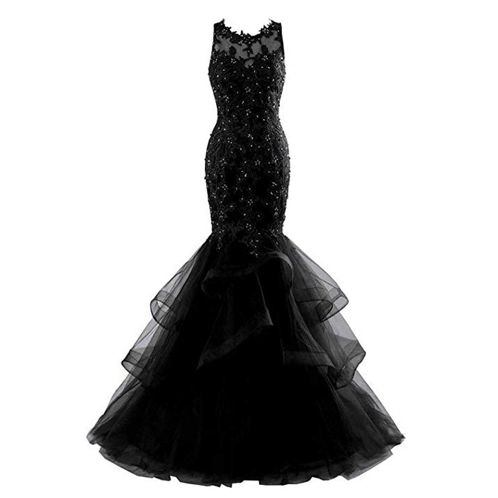 Black Fashionbride Women's Long Prom Dress Ball Gown Beaded Lace Mermaid Formal Dresses ED77