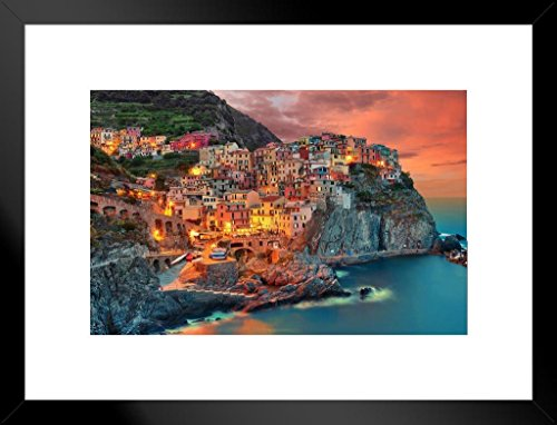 Poster Foundry Cinque Terre Manarola Italy Cliff Homes Landscape Photo Art Print Matted Framed Wall Art 26x20 inch