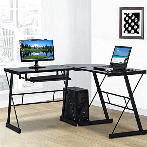 L Shaped Computer Desk Office Corner Desk,Modern Gaming Desk Home Office Desk Tempered Glass Workstation Desk
