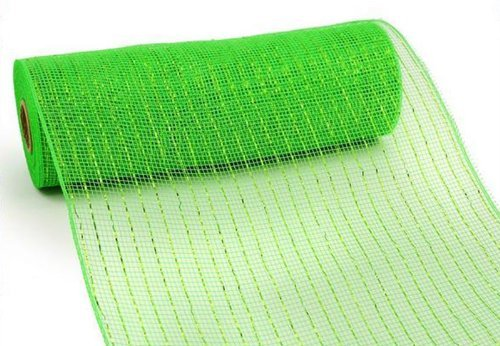 10 Inch x 10 Yards (30 feet) Deco Poly Mesh Ribbon - Lime Green with Lime Foil : RE130150 -