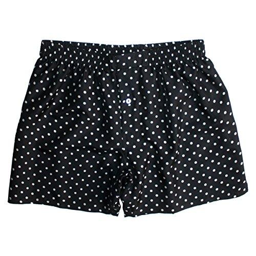 Sexy Black Silk Polka Dot Boxers by ROYAL SILK - Men's S - 30 Silk Inch