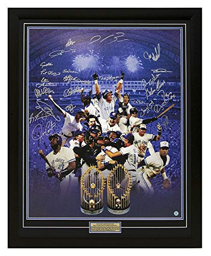 Toronto Blue Jays World Series Team Signed By 25 Back To Back Champs 34x42 Frame - Autographed MLB Art (Toronto Blue Jays Back To Back World Series)