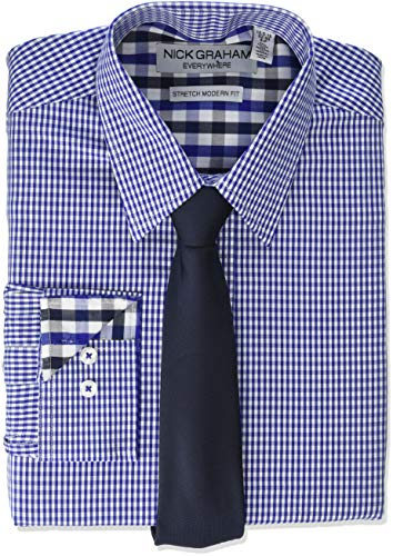 - Nick Graham Men's Stretch Modern Fit Gingham Dress Shirt and Solid Tie Set, Navy, M-L 34/35