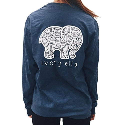 Womens Elephant Print Round Neck Long Sleeve Casual T Shirt Top Blouse (Small, Blue)