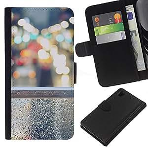 KLONGSHOP // Tirón de la caja Cartera de cuero con ranuras para tarjetas - Steet Bokeh - Sony Xperia Z1 L39 //