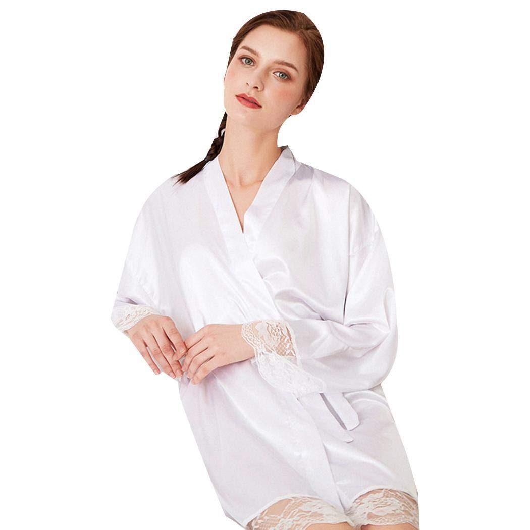 ca61b6707 Asatr Women Fashion V Neck Long Sleeve Lace Patchwork Sleep Robe Sleepwear  Robes White at Amazon Women's Clothing store: