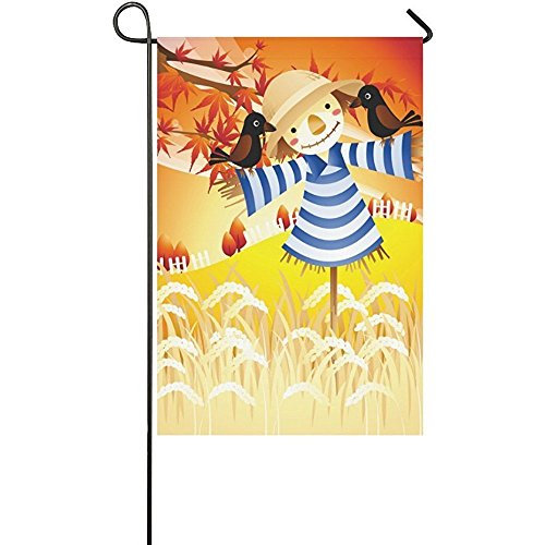 KGEDLA Autumn Harvest Scarecrow Polyester Garden Flag House Banner 12 x 18 inch, Fall Field Maple Leaves Decorative Flag for Wedding Party Yard Home Outdoor Decor Scarecrow Decorative Banner