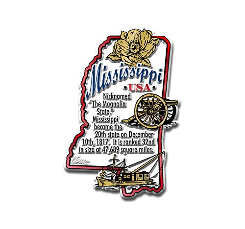 Mississippi State Map Information Magnet