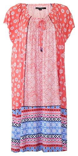 - Ellen Tracy Multi Geo Print Plus Size Lounge Dress/Nightgown (Light Orange Multi Geo Print with Multi Border Print Blue Orange Black White, 1X)