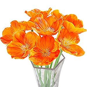 Artificial Flowers, Meiwo 10 Pcs Fake Poppies Flowers for Wedding Bouquets / Home Decor / Party / Graves Arrangement 102
