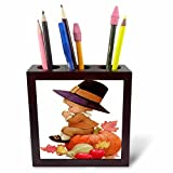 3dRose ph_36427_1 Vintage Pilgrim Boy on Pumpkin-Tile Pen Holder, 5-Inch