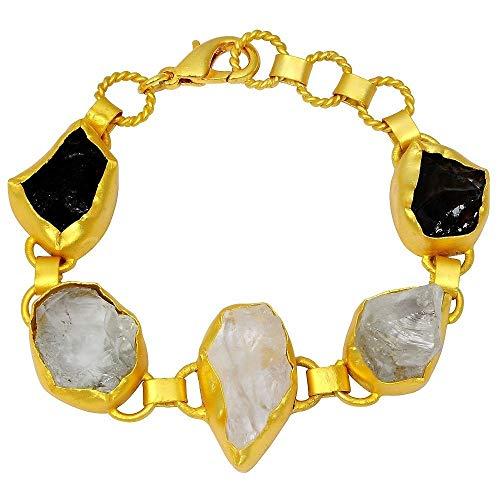 65 Ctw Crystal Quartz, Smoky Quartz & Green Amethyst Bracelets By Orchid Jewelry| Amethyst Jewelry| 925 Sterling Silver Bracelet| February Birthstone| Amethyst Stone Jewelry