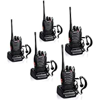 Baofeng BF-888S Rechargeable 3 Miles (5 km) Long Range 5W Two Way Radio Walkie Talkies 16 Channel Handheld Radio Built in LED Torch Microphone With Earpiece(Pack of 5) 5 Pack