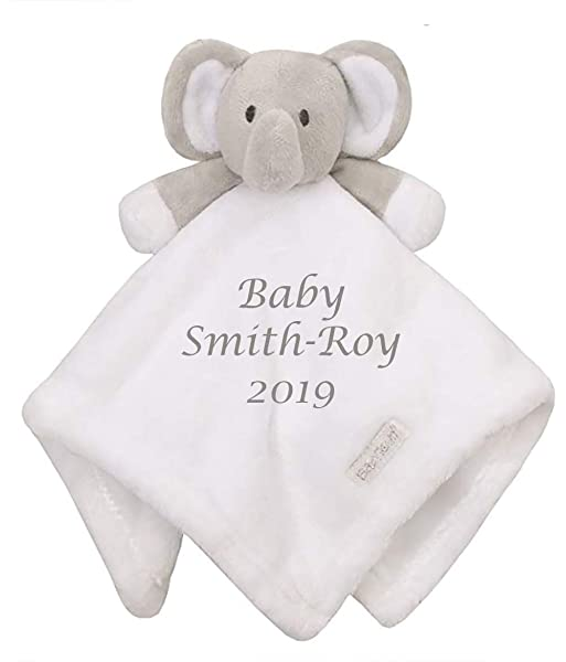 Baby Boy Girl Personalised Name Comforter Blanket Elephant
