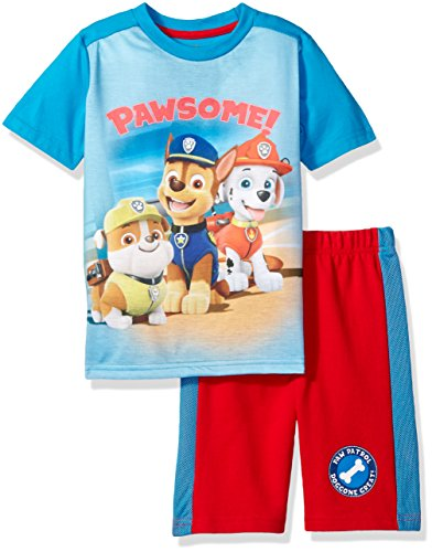 French Terry Short Set (Nickelodeon Little Boys' 2 Piece Paw Patrol Tee and French Terry Short Set, Blue, 7)