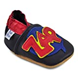 Petit Marin Beautiful Soft Leather Baby Shoes with Suede Soles – Toddler / Infant Shoes - Crib Shoes – Baby First Walking Shoes - Pre-walker Shoes - Zap Pow - 18-24 Months (20 Designs)