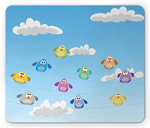 (Lunarable Birds on a Wire Mouse Pad, Flock of Colorful Funny Cartoon Birds Perching on Cables Kids Nursery Print, Standard Size Rectangle Non-Slip Rubber Mousepad, Multicolor)