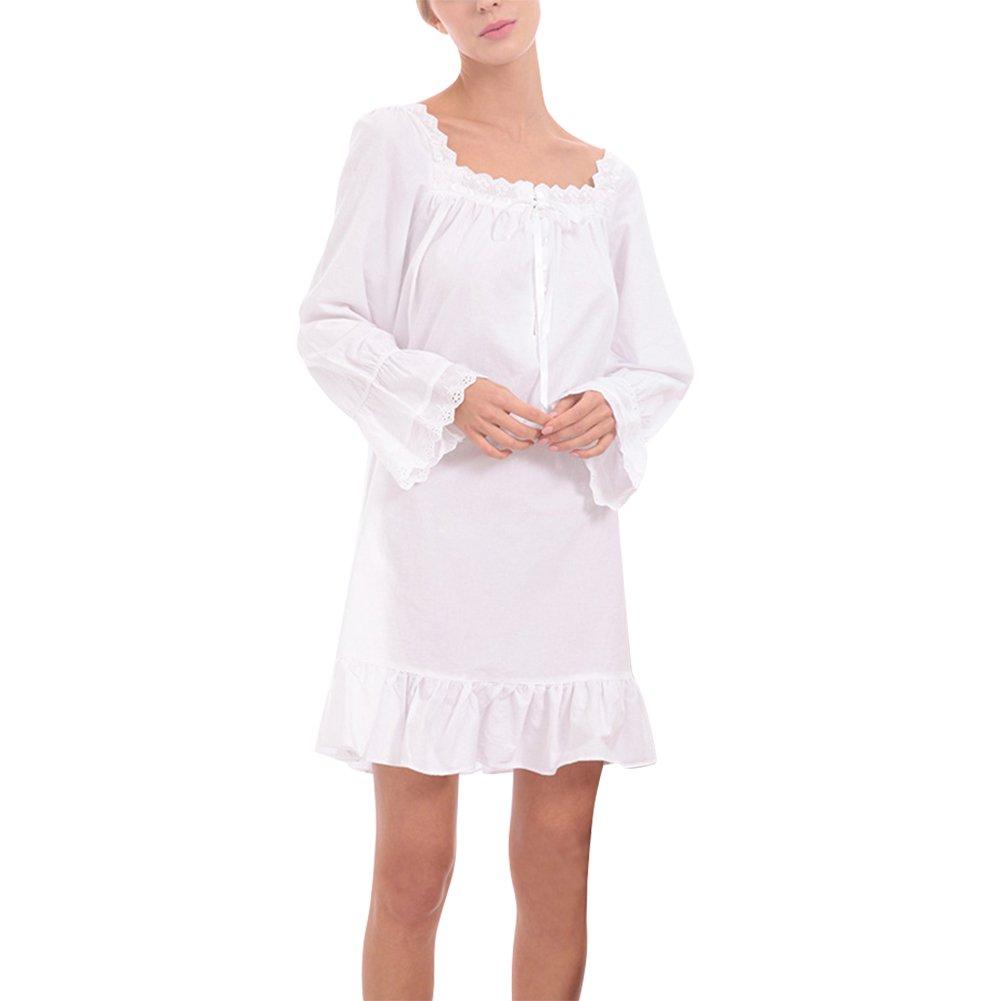 26445f475a iBaste Damen Nachthemd Baumwolle Reine Farbe Retro-Stil Kleid Schlafanzüge  Nachtwäsche Negligees Langarm Lang: Amazon.de: Bekleidung