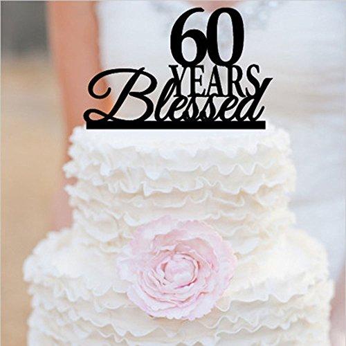 Homanda Black Acrylic 60 Years Blessed Cake Topper for Diamond Wedding Anniversary Birthday Party