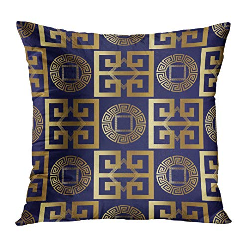 Design Gold Square Greek (DTTOT Throw Pillow Cover Modern Abstract Geometric with Antique Gold 3D Vintage Greek Key Squares Circles Rhombus Ornaments Decorative Pillow Case Home Decor Square 16x16 Inches Pillowcase)