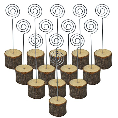 Bantoye 20 Pcs Rustic Table Wood Stands, 6 Inches Real Wooden Base Memo Photo Clip Card Holders Paper Note Clip for Christmas Party Wedding Home Bar ()