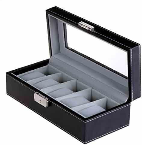SONGMICS Watch Box 5 Mens Watch Case Glass Top Organizer Black UJWB001