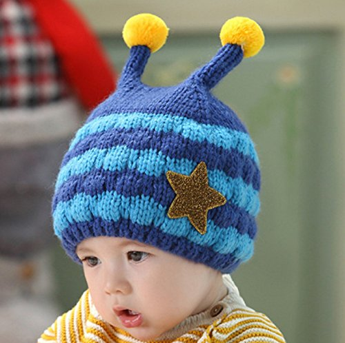 Hot Sale! Winter Knit Hats Baby Boy Girl Cute Star Double Ball Cap Warm Ear Protection Toddler Infant Caps (Freesize (Elastic), Blue)