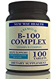 New Way Health Premium B-100 Complex Vitamins,The Best Sustained Time Release Vitamin B Supplement, Supports Energy Production/Powerful Antioxidant.100 Capsules and 100% Money Back Guarantee
