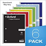 "TOPS/Oxford 1-Subject Notebooks, 8"" x"