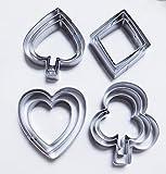 "Yunko Poker ""Playing Bridge"" Stainless Steel Cookie Cutter Fondant Cutter 12pcs / Set , Diamond Heart"