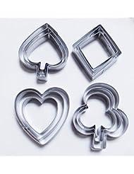 Yunko Poker Playing Bridge Stainless Steel Cookie Cutter Fondant Cutter 12pcs / Set , Diamond Heart