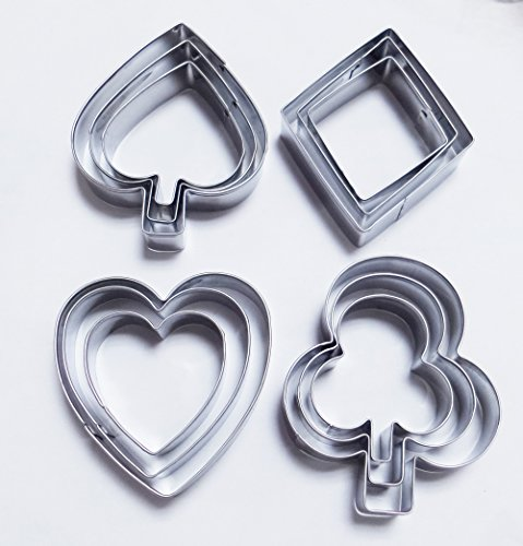 Yunko Poker  inchPlaying Bridge inch Stainless Steel Cookie Cutter Fondant Cutter 12pcs / Set , Diamond Heart
