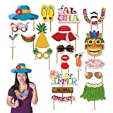 Luau party supplies luau party decorations luau photo booth props kit 45pcs-Aloha Hawaiian Tropical Tiki Birthdays Summer Beach pool decorations party favors for kids