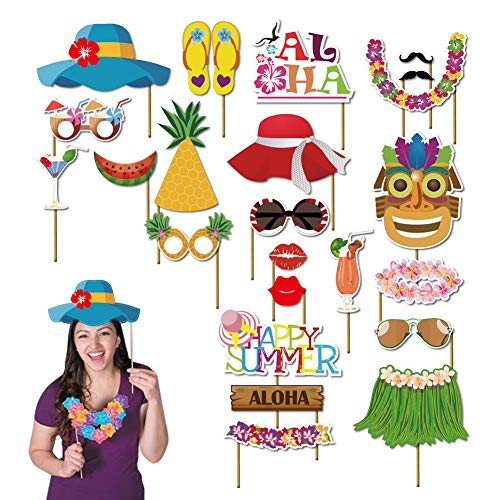 Luau party supplies luau party decorations luau photo booth props kit 45pcs-Aloha Hawaiian Tropical Tiki Birthdays Summer Beach pool decorations party favors for kids]()