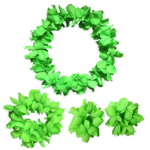 CISMARK Hawaiian Luau Flower Leis Jumbo Necklace Bracelets Headband -