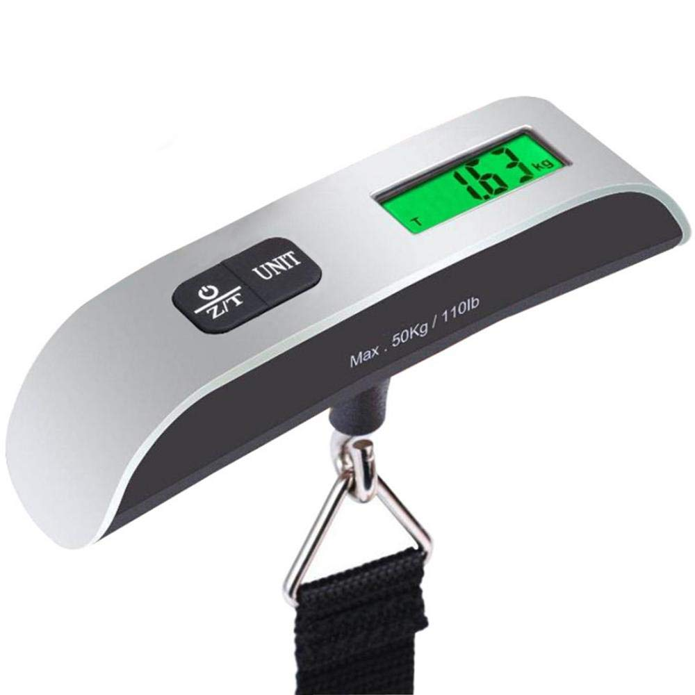 Convenient Digital Luggage Scale with Hooks and Tare Function Luggage Scales Handheld Suitable for Travelers 110lbs//50kg Baggage Weight Scale LEC Display Backlight Temperature Sensor